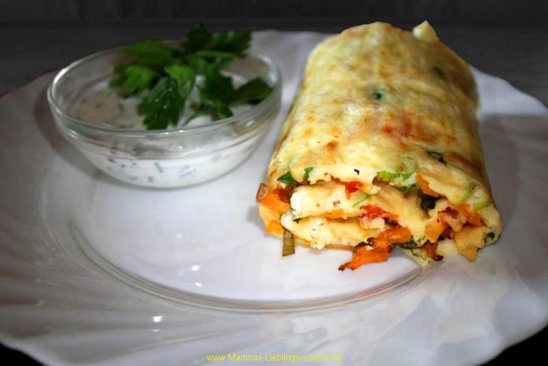 Gemüsepfannkuchen aus dem Ofen mit Schafskäse
