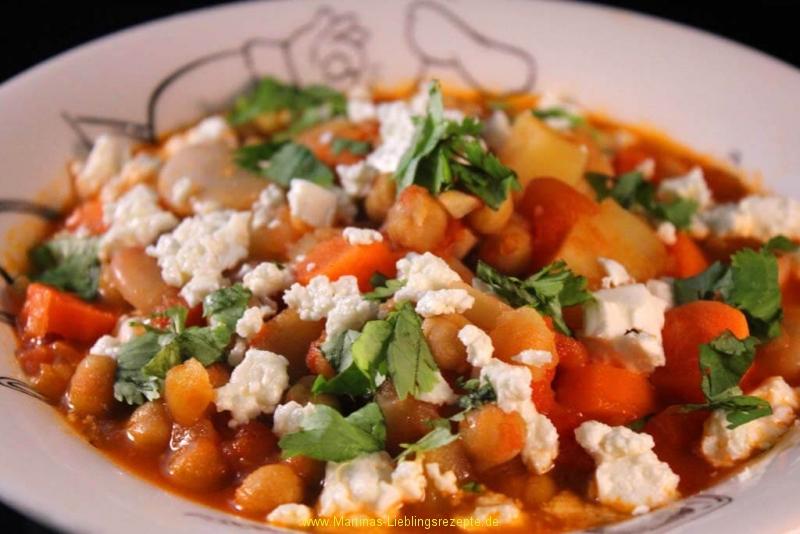 Kichererbsen und weiße Bohnen Stew