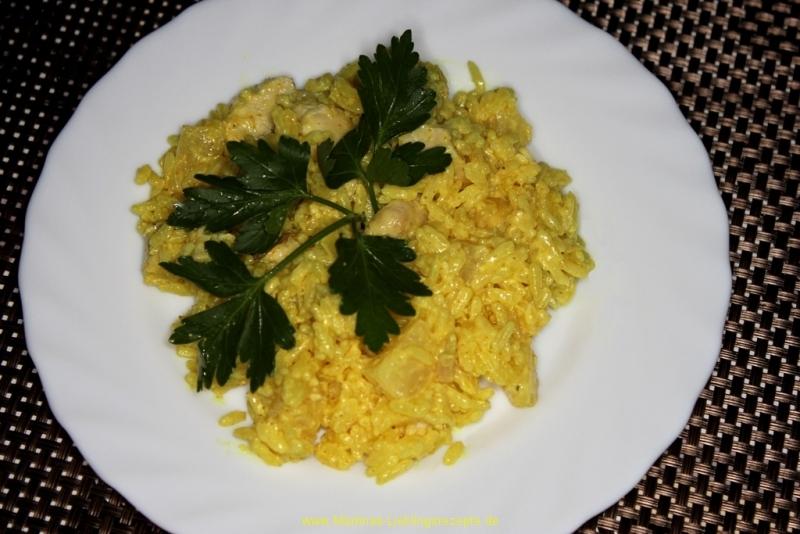 Reissalat mit Curry und Hähnchen