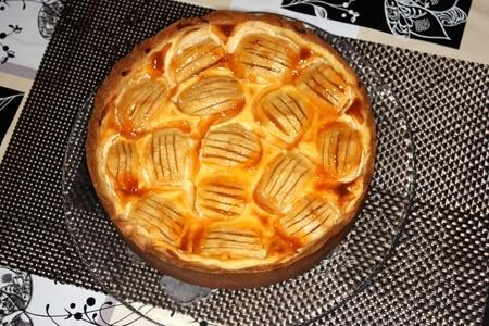 Apfelkuchen mit Schmand und Aprikosenmarmelade