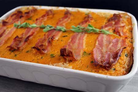 Foto zum Rezept: Sauerkrautauflauf mit Süßkartoffeln, Birnen und Bacon auf www.martinas-lieblingsrezepte.de