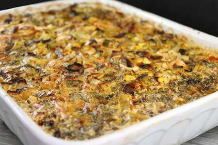 Foto zum Rezept: Schnitzel unter der Champignon-Lauch Haube auf www.martinas-lieblingsrezepte.de
