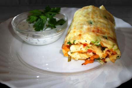 Foto zum Rezept: Gemüsepfannkuchen aus dem Ofen mit Schafskäse auf www.martinas-lieblingsrezepte.de